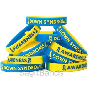 10 Down Syndrome Awareness Bracelets - Debossed Color Filled Silicone Wristbands