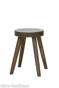Lene Bjerre Hocker Holz Beton Vintage natur look kleiner Beistelltisch rund
