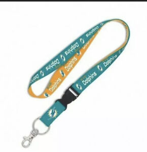 Miami Dolphins NFL Lanyard Clip Neck Tag Keychain for ID Keys Ticket Fan Holder