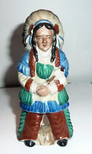 Ceramic Figurine 1960s Japan COLORFUL INDIAN CHIEF In Headress Sioux
