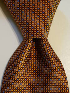 ERMENEGILDO ZEGNA Men's 100% Silk Necktie ITALY Luxury Geometric Orange/Blue EUC