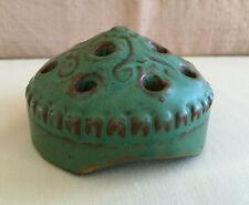 Vintage Domed Pottery Flower Frog Ceramic 12 Holes Ikebana 3.5