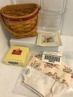 2001~Longaberger Love Notes Red Sweetheart Basket w/liner, tie-on,protector new