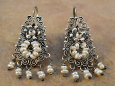 Mexican Mexico Small Sterling Silver & Pearl Frida Earrings