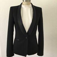 Zara Basic Collection Tuxedo Blazer Satin Lapel Black Sz S Crepe Made In Spain