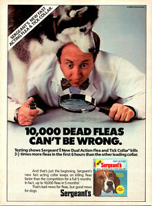 Vintage 1988 Sergeants Flea Collar Husky Dog Print Ad Advertisement Advertising