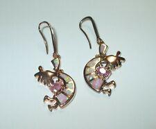 Rose Gold Plate 925 Sterling Silver Pink Opal Kokopelli Drop Dangle Hook Earring