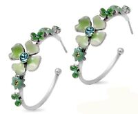 NEW PILGRIM SILVER HOOP EARRINGS SWAROVSKI CRYSTALS ENAMEL DELICATE FLOWERS RARE