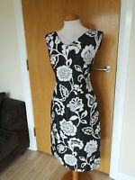 Ladies LATTE Dress Size 12 14 Black White Floral Party Wedding Evening