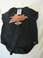 Harley Davidson Baby One Piece Outfit Size  3-6  Months  Black S/S VGUC