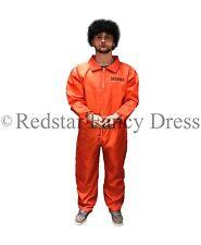 MENS ORANGE PRISONER COSTUME + HANDCUFFS FANCY DRESS CONVICT JUMPSUIT STAG PARTY