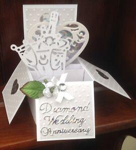 Handmade Diamond wedding anniversary pop up card