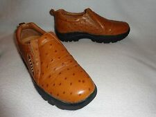 SPORTY ROPER PERFORMANCE GOLDEN BROWN OSTRICH LEATHER SLIP-ON SHOES--M 8.5 W 9.5