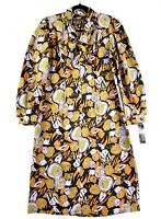 Vintage 80s Women's Size 12 Multicoloured Collared Button Midi Shift Shirt Dress