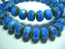 25 8x6mm Powder Blue Czech Glass Picasso Rondelle beads