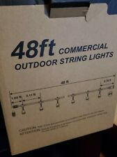 48ft Outdoor Commercial LED String Lights Weatherproof 15 Bulbs And Sockets