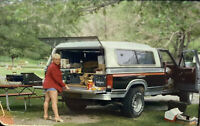 Vintage Photo Slide 1986 Koa Camp Woman Posed Car Camping Short Shorts