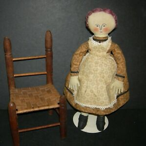 """CLOTH DOLL - 14"""" - VINTAGE - EMBROIDERED FEATURES - CUTE CLOTHES - VINTAGE CHAIR"""