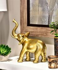"""12"""" Standing Elephant Statue Table Decor Antiqued Gold Polyresin NEW"""