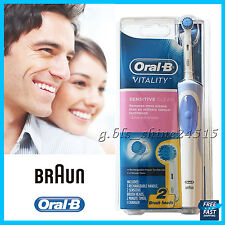 Oral-B Vitality Sensitive Electric Rechargeable Toothbrush 2 Brush Heads +Timer
