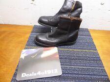 Chealsea Beatle Boots Zipper Side Fur Lined Size Black Leather Vibram Soles 10.5