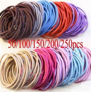 50//100 Cotton Hair bands Headbands Elastic Hair Ties Rope Ponytail Holder bulk
