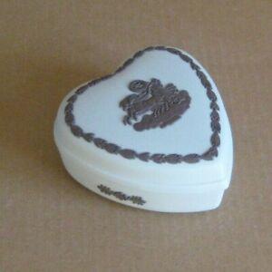 Wedgwood Jasperware White & Brown Heart Box