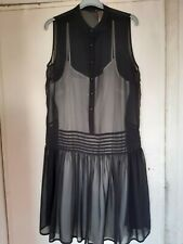 MARKS AND SPENCER SHEER BLACK DRESS WITH SLIP SIZE 12 BNWT...limited collection