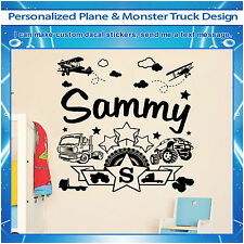 Custom Monster Truck Plane Stars Nursery Vinyl Wall Art Sticker Kids Decal 134