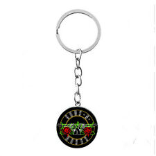 Vintage Glass photo Cabochon charm silver Matal Key ring(Guns N' Roses