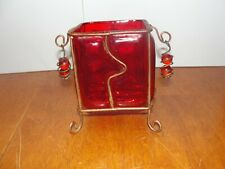Vintage Hand Made Ornate Red & Copper Wire Metal Candle Holder Candlestick - Euc