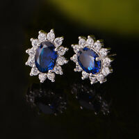 Solid 925 Sterling Silver Classic Blue Sapphire Oval CZ Stud Earrings Jewellery