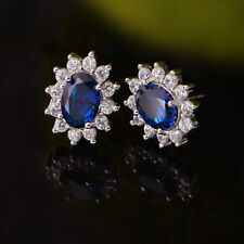 Solid 925 Sterling Silver Classic Bue Sapphire Colour CZ Stud Earrings Jewellery