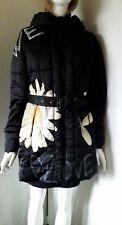 Desigual Doudoune noire avec capuche Flower Power Fr40 - Eu38