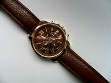 OFERTA MUY ELEGANTE Geneva oro y marrón CARAS Correa Para Reloj de cuarzo
