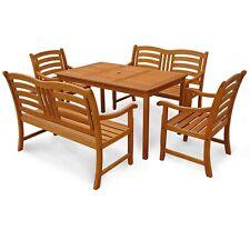 Gartenmöbel Set Garten Sitzgruppe Garnitur 2 Bänke 2 Stühle Holz wie Teak
