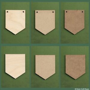 Wooden rectangle bunting flag with point plaques and blanks for crafts and signs