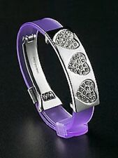 Bracelet Heart Jewelry Silver Plated Crystal Charm Purple Valentines Day Gifts