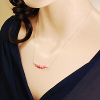 """Lovely Pink Coral Bar Necklace Dainty Sterling Silver Chain Clasp 18"""" FREE SHIPP"""