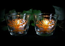Tree of Life & Full Moon Glass Candle Holders  Altar Wicca Pagan Witch Luna