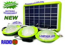 kit pannello fotovoltaico 12 vlt batteria luci led carica cellulare radio fm usb