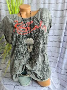 Soccx Shirt Damen Kurzarm mit Aufdruck grau Damen (750) Neu