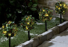 Set of 4 LED Light Up Holly Topiary Balls Path Stake Christmas Lights Decoration