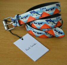 "PAUL SMITH white red blue Japanese TUNA fish belt leather 30"""