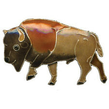 BUFFALO BISON PIN by Bamboo Jewelry Enamel STERLING Silver Cloisonne  Gift Boxed