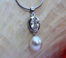 P42 vrai eau douce bijoux avec perles pendentif Sans Collier zircon Argent 925