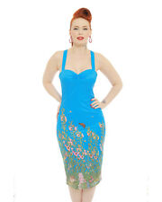 Lindy Bop 'Charlie' Countryside Wiggle Pencil Blue 8-22 Dress Pin up PLUS $10off