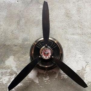 Industrial Air Plane Propeller Metal Wall Clock Aeroplane Retro Ornament  UK