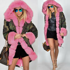 Aofur Green Camouflage Pink Faux Fur Winter Warm Outdoor Hooded Parka Size XL