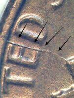 1982 Large Date  Lincoln Memorial Cent AU Reverse Die Crack Error Coin